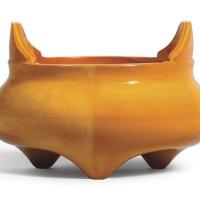 3009. an imperial realgar-imitation glass tripod incense burner wheel-cut mark and period of qianlong