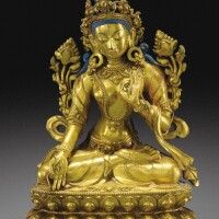 117. 清十八世紀 鎏金銅白度母坐像