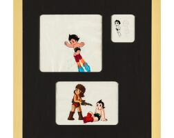 1009. astro boy by mushi production | astroy boy animation cel and sketch (three works)
