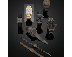 3. an 18 carat gold chronograph wristwatch, cartier, tank francaise, circa 2000
