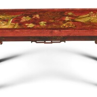 33. a chinoiserie red and parcel-gilt lacquer low table, modern  