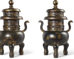 3632. a magnificent pair of large imperial bronze incense burners, covers and marble stands marks and period of qianlong