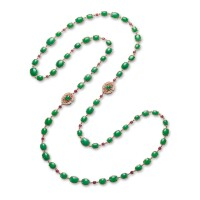 1839. jadeite, ruby and diamond long chain necklace