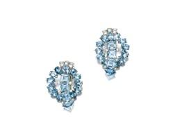 466. pair of aquamarine and diamond clips, 1930s
