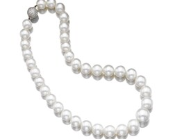 39. cultured pearl and diamond necklace