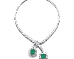 334. attractive emerald and diamond necklace
