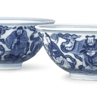 3639. a pair of blue and white 'eight immortals' bowls seal marks and period of daoguang |
