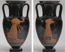 35. an attic red-figured nolan amphora, attributed to the alkimachos painter, 470-460 b.c.