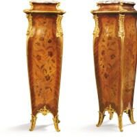 27. joseph-emmanuel zwiener (1848 - 1895)a pair of french gilt-bronze mounted kingwood, tulipwood and floral marquetry gaines, paris, circa 1885  