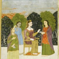 202. a noblewoman in european costume seated on a terrace with female attendants, mughal, probably oudh, second half 18th century
