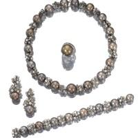 17. cultured pearl and diamond parure, adler