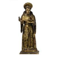 15. a fine spanish wood figure of saint nicolas of tolentino 17th century