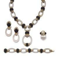 24. rock crystal, onyx and diamond parure