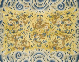15. an imperial yellow-ground embroidered 'dragon' cushion cover qing dynasty, qianlong period