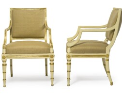9. a pair of george iii parcel-gilt cream-painted armchairs circa 1800