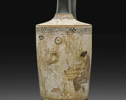 4. an attic white-ground lekythos, attributed to the manner of the sabouroff painter, circa 450-440 b.c. | an attic white-ground lekythos, attributed to the manner of the sabouroff painter