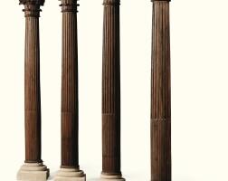 2. a suite of four carved oak corinthian columns, 18th century  