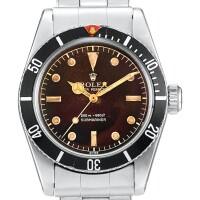 """2307. 勞力士   submariner """"big crown"""" 型號6538 精鋼鍊帶腕錶備棕色錶盤,機芯編號n815711,錶殼編號383885,約1958年製"""