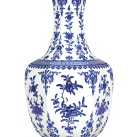 3614. a large blue and white hexagonal vase seal mark and period of qianlong
