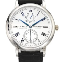 37. a. lange & söhne   grosse langematik gangreserve ref 304.049a limited edition platinum automatic wristwatch with power reserve indication made to commemorate the 100th anniversary of wempe circa 2006
