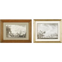 9. abel benjamin barreau (?) a harbour scene, dated 27th march 1782