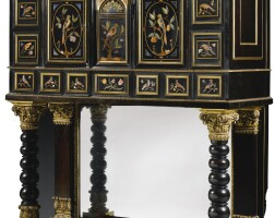 11. a george iv pietre dure mounted ebony veneered cabinet attributed tomorel and hughes, circa 1823, the pietre dure panels, florentine and 17th century