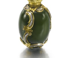 205. a jewelled gold and hardstone scent bottle, probably fabergé, workmaster michael perchin, st petersburg, circa 1895