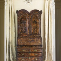 7. an important queen anne brass-inlaid stained burr maple and yewwood desk-and-bookcase attributed to coxed and woster circa 1715