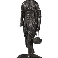 5. a japanese bronze figure of a girl, meiji period, 19th century
