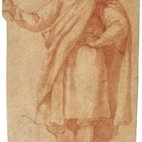 320. jacopo chimenti, called jacopo da empoli | recto: study of a young man wearing a cloak, his left hand on his hip and his right arm raisedverso: study of a man wearing a hat and holding a sword in his left hand, with two subsidiary studies of a boot, and a hand holding the top of a sword