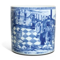 21. a blue and white brushpot qing dynasty, kangxi period