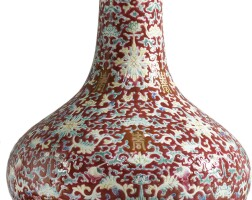 1511. a ruby-ground famille-rose bottle vase qing dynasty, 19th century |
