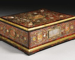 31. an agate-mountedmother-of-pearl,brass and pewter inlaid tortoiseshell première-partie boulle marquetry and ebonylarge jewellerycasket, probably antwerp and by henry van soest (1659-1726) early 18th century