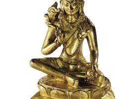 16. 十七世紀 西藏或蒙古 鎏金銅彌勒菩薩坐像