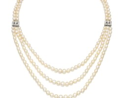 11. natural pearl, cultured pearland diamond necklace, 1920s