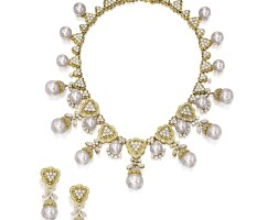 1609. cultured pearl and diamond necklace and pair of matching pendent earrings