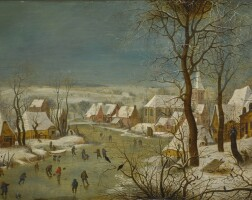 130. circle of pieter brueghel the younger | winter landscape with a bird trap