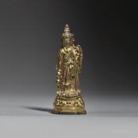 1. a small gilt-bronze figure of avalokiteshvara sui / early tang dynasty |