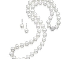 1621. cultured pearl and diamond necklace and pair of pendent earrings