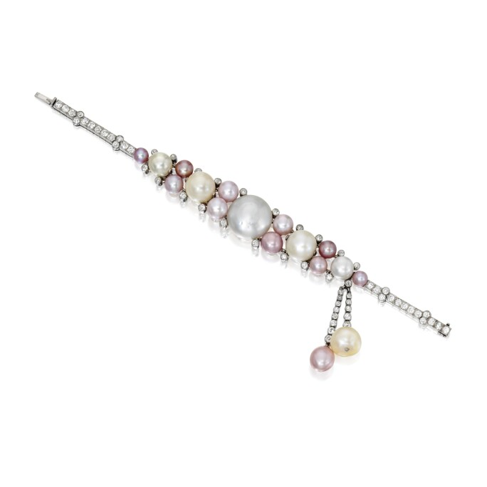 Pearl, Cultured Pearl and Diamond Bracelet, Cartier. LOT SOLD. $225,000