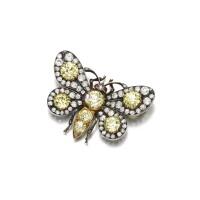468. diamond and ruby brooch, circa 1880