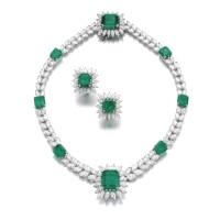 361A. emerald and diamond demi-parure