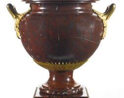 18. a louis xvi style gilt bronze-mounted rouge griotte marble urn
