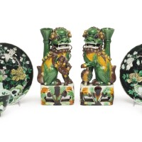 1107. pair of chinese famille-noire teabowls and saucers 19th century