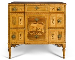 41. a south german neoclassical walnut and satinwood parquetry and marquetry commode, circa 1770