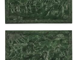 1544. 十九 / 二十世紀 西伯利亞玉雕山水人物圖插屏一對  