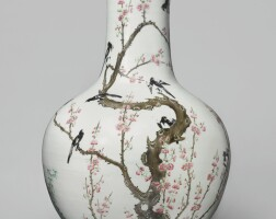 902. a famille-rose 'magpie and prunus' vase late qing dynasty