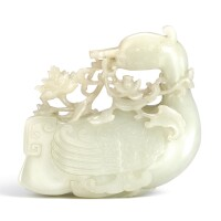 3624. a white jade archaistic figure of a goose qing dynasty, 18th century |