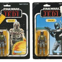 5. two star wars return of the jedi boba fett action figures, 1983