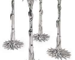 """23. a set of four american silver """"bamboo"""" candlesticks, designed by frank milwee, georgetown, d.c., 2003"""